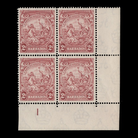 plate block without extra frame line from 1949 printing