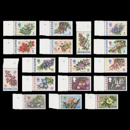 Flowers definitives. The original 17 values issued 6 July 1970