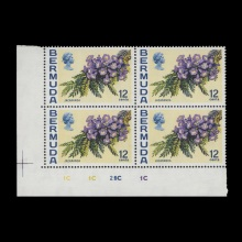 12c Jacaranda plate 1C–1C–2C–1C block with upright watermark