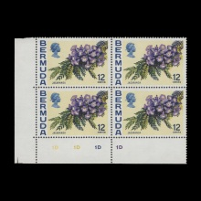 12c Jacaranda plate 1D–1D–1D–1D block with upright watermark. Previously unrecorded