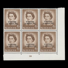 6c plate block with black overprint