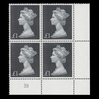 £1 plate 3B block